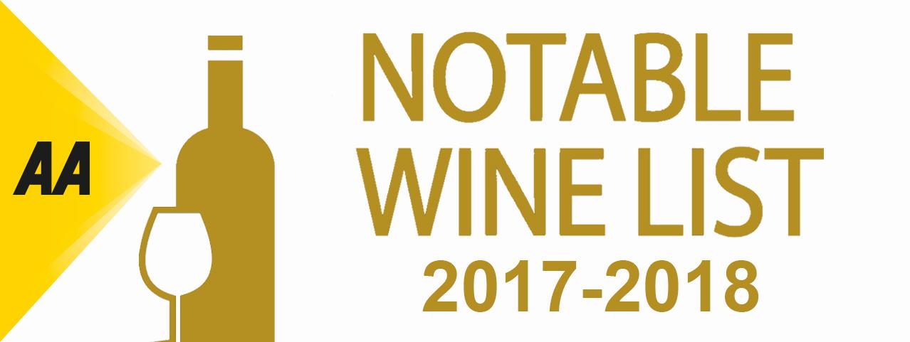 The AA Notable Wine List Award 2017-18